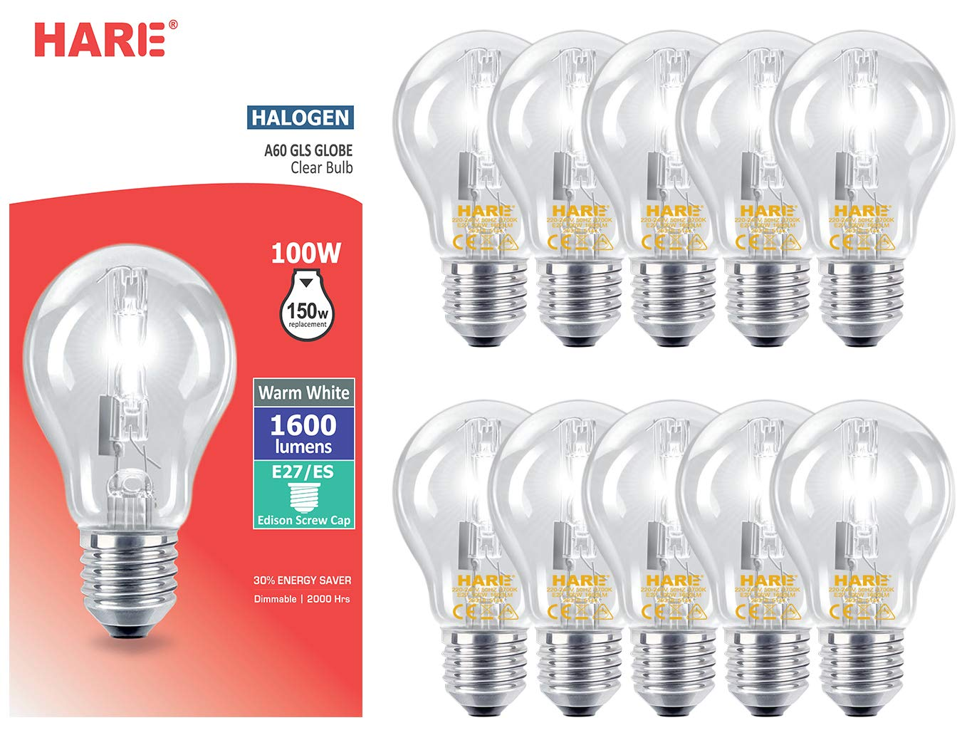 10 x Halogen GLS Edison Screw Cap Light Bulbs 100W Equivalent 150W GLS E27 (ES) Clear Bulb Incandescent Energy Saving Dimmable Bulbs