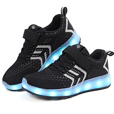 LJ Sport LED Shoes Kids Luminous Shoes Light Up Trainers Sneakers Shoes USB Charging Shoes (
