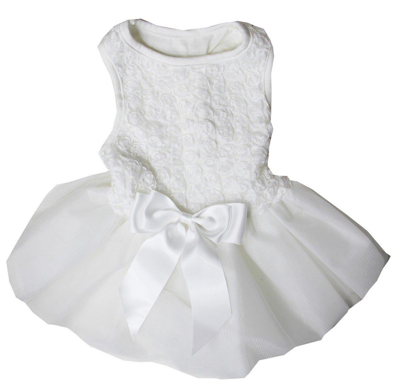 Kirei Sui White Rosettes PETS Tutu Party Dress Small White