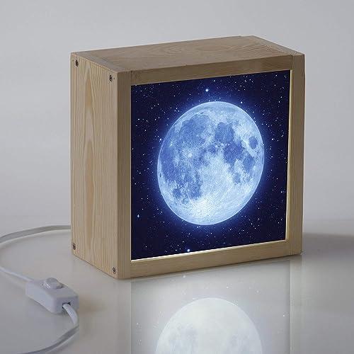 Caja de luz Luna para decoración habitación infantil- lampara quitamiedos – LED - Cubito cuadrado