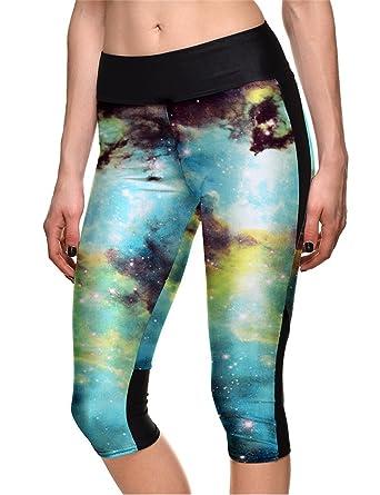 afa8e781ff Hoyou Women's Plus Size Fitted High Waist Workout Cropped Pants - Galaxy  Print Capri Leggings With