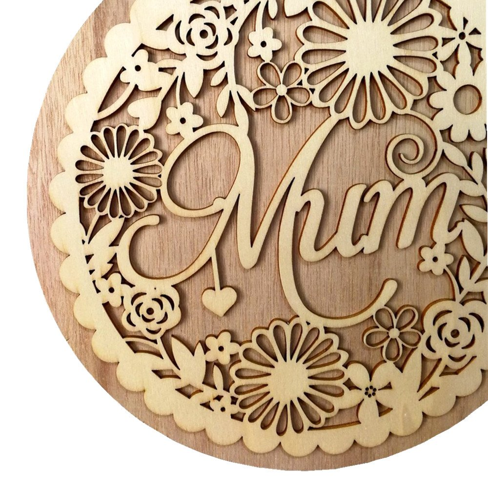 Wooden Hollow Out Mum Hanging Board Round Circle Mother's Day Gift Plank Hanging Plaque Wall Wood Sign Craft Decor Pendant by sd finger (Image #6)