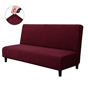 CHUN YI Armless Sofa Slipcover Elastic Fitted Full Folding Sofa Bed Cover Without Armrests,Removable Machine Washable Non-Slip Furniture Protector for Futon Couch Bench (Sofa, Wine)