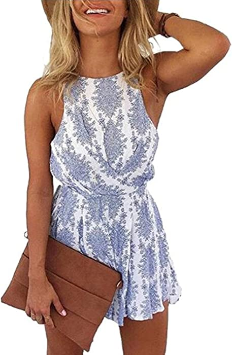 2fc19d0dc4 Lanzom Women Sexy Strap Backless Summer Beach Party Romper Jumpsuit  (Medium