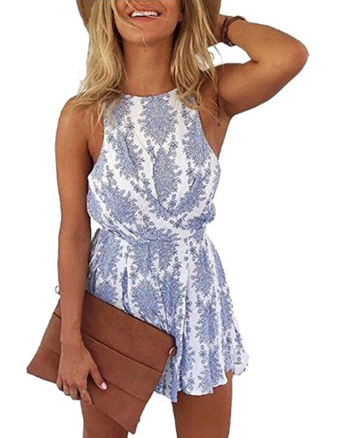 Lanzom Women Sexy Strap Backless Summer Beach Party Romper Jumpsuit (Small, Blue)
