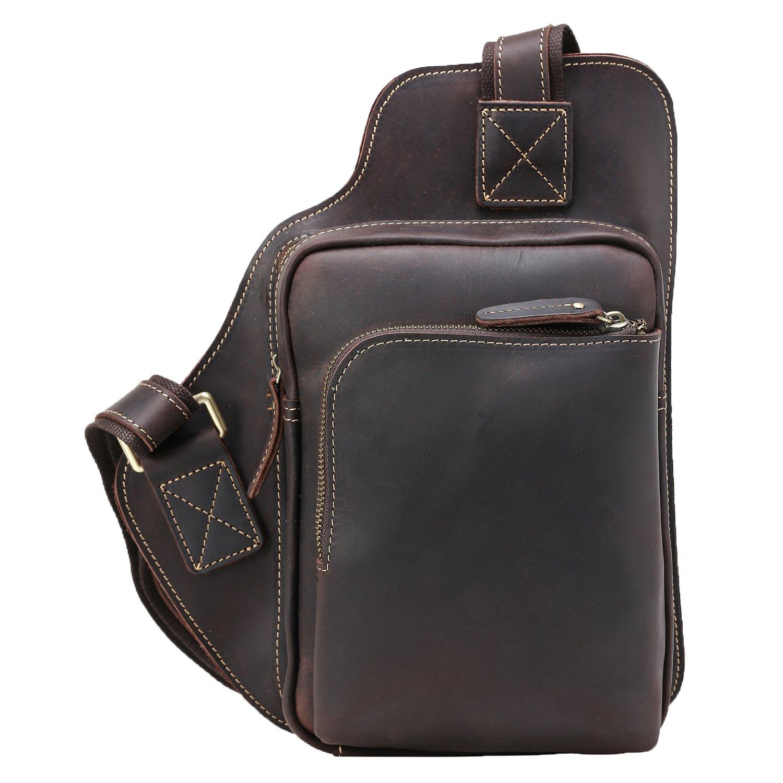 good Polare Mens Full Grain leather Cross Body Chest Sling Bag Pack Satchel