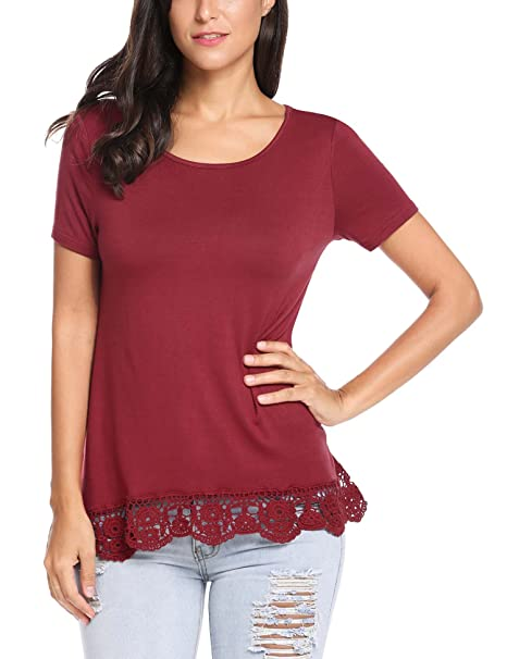 67f9f09b80e SoTeer Women Short Sleeve Cotton Tunic Top Lace Trim Casual Loose Shirt  Wine Red S