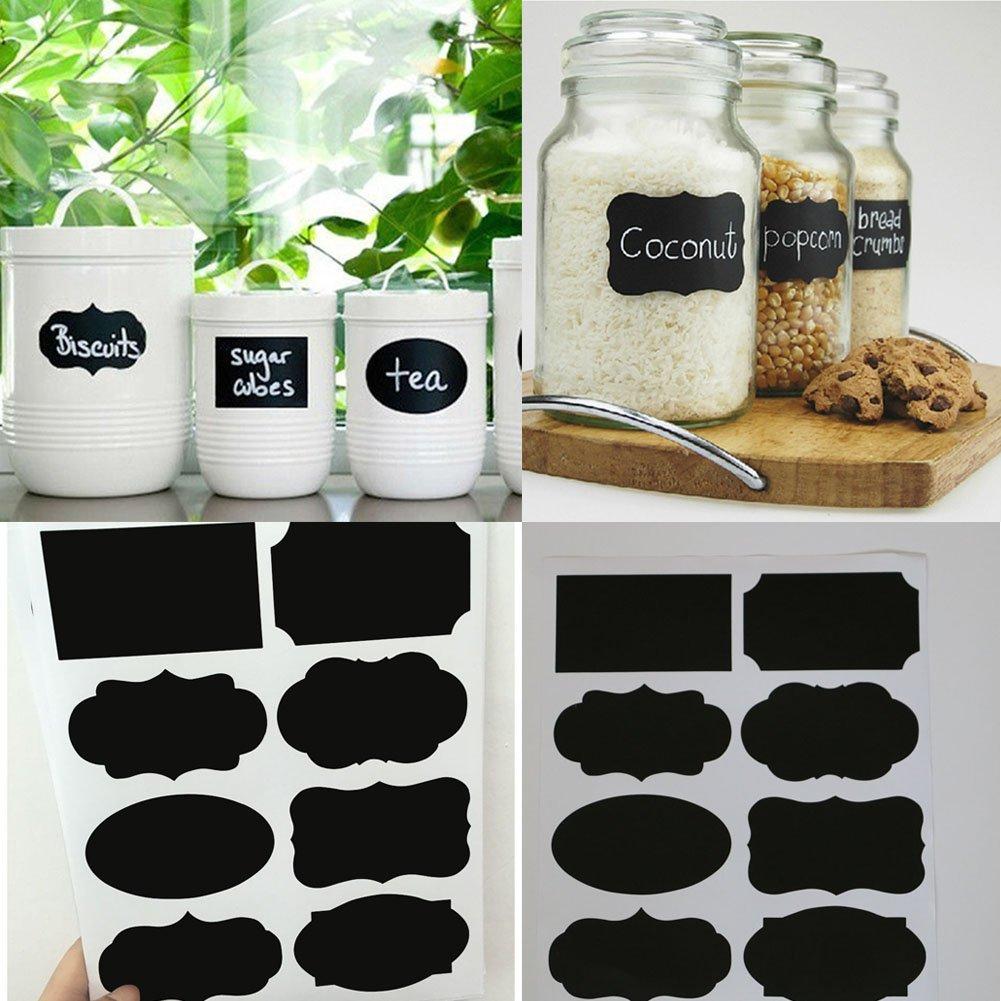 Everpert 40pcs étanche Tableau Noir Tableau Noir Autocollant Lables pour Mariage Maison de Cuisine bocaux