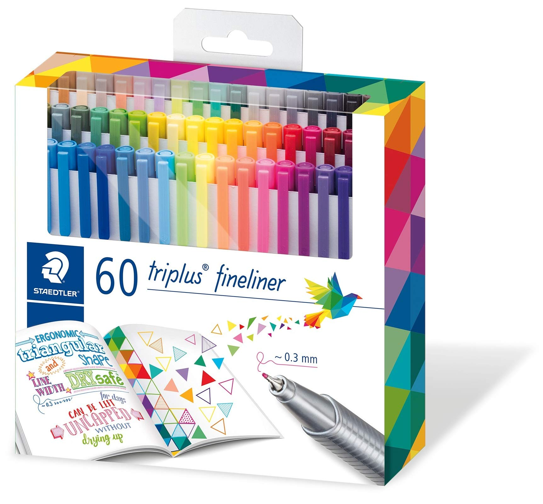 Staedtler triplus fineliner triangular, set with 60 brilliant colours, made in Germany, super fine, metal-clad tip, line width approx. 0.3 mm, 334 C60