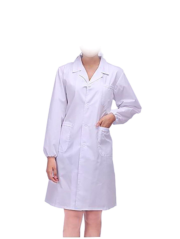 WDF Camice da Laboratorio Medici Abbigliamento Bianco Camice Uniformi da Lavoro Bianco Donna Maniche Lunghe Elastico Manette
