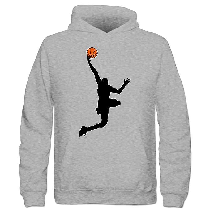 Baloncesto Dunk Ilustración Niños sudadera con capucha by Camiseta City Gris gris: Amazon.es: Ropa y accesorios
