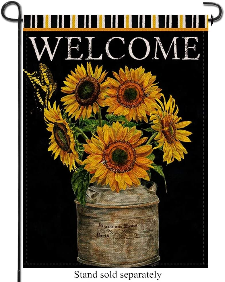 Artofy Sunflowers Welcome Home Decorative Garden Flag, Farmhouse Outdoor Small Flag Butterfly Flower, Summer Fall Vintage House Yard Decor Flag Spring Autumn Seasonal Outside Decoration Black 12 x 18