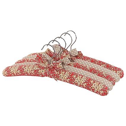 neoviva algodón de tejido perchero percha con set de madera y esponja acolchado para bebé, Kid, la madre, 5 unidades), diseño de flores, color rojo ...