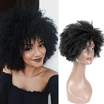 Hairphocas Short Curly Afro Wigs Fluffy Kinky