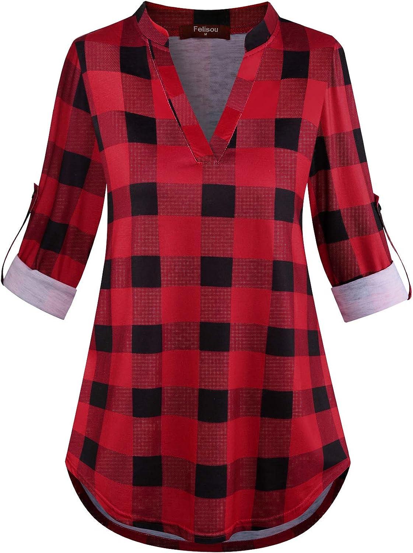 Felisou Womens V Neck 3/4 Roll Sleeve Loose Tops and Blouses Long Sleeve Plaid Shirts