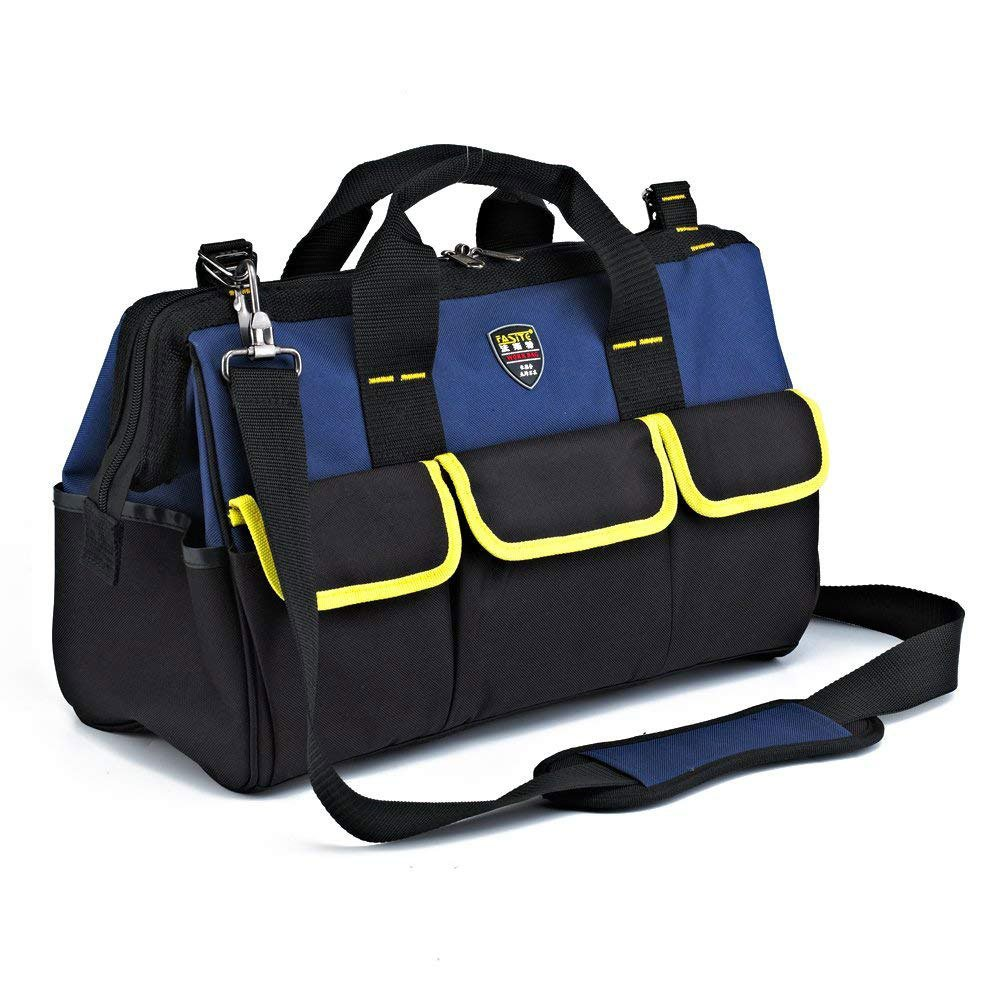 blueee 14\ Toolkit 600D Oxford Clothwide Mouth Electrician Bags Waterproof Travel Bags Men Crossbody Bag Large Capacity Tool Bags