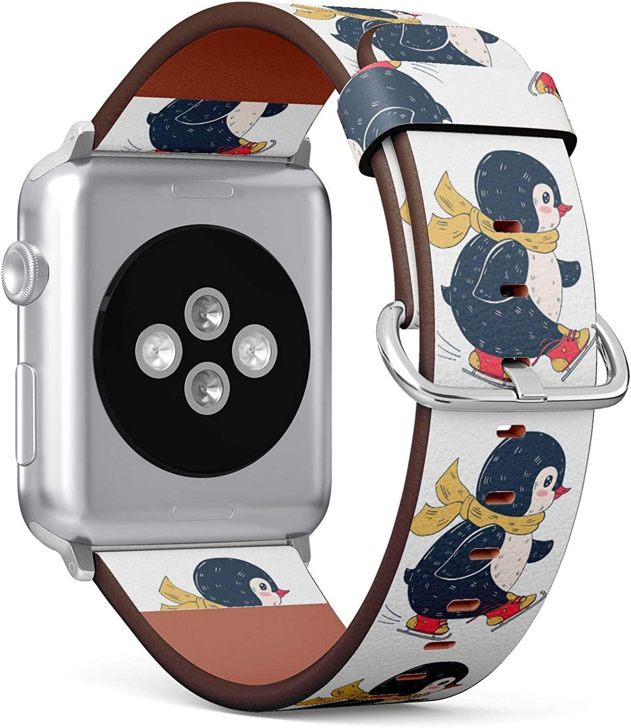(Winter Illustration with Funny Cartoon Penguin on Skates) Patterned Leather Wristband Strap for Apple Watch Series 4/3/2/1 gen,Replacement for iWatch 38mm / 40mm Bands