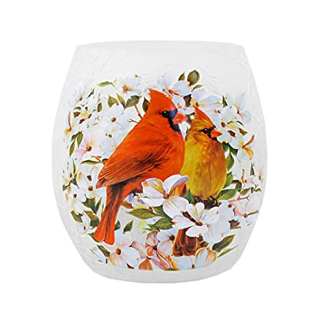 Stony Creek 3 Tall Lighted Oval Glass Vase Folk Art Spring Cardinal
