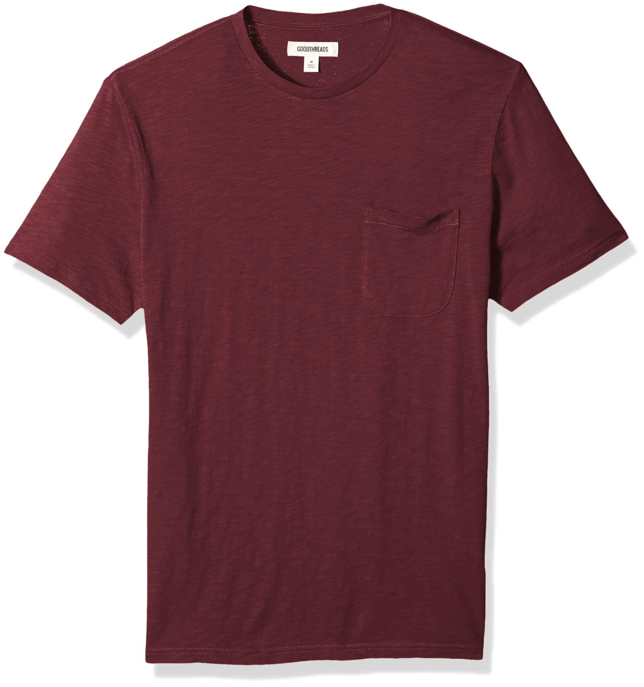 Goodthreads Men's Lightweight Slub Crewneck Pocket T-Shirt, Burgundy, Large