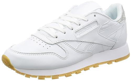 Reebok Classics Women s Cl Lthr Met Diamond White and Gum Leather Running  Shoes - 5 UK abfb20f8e