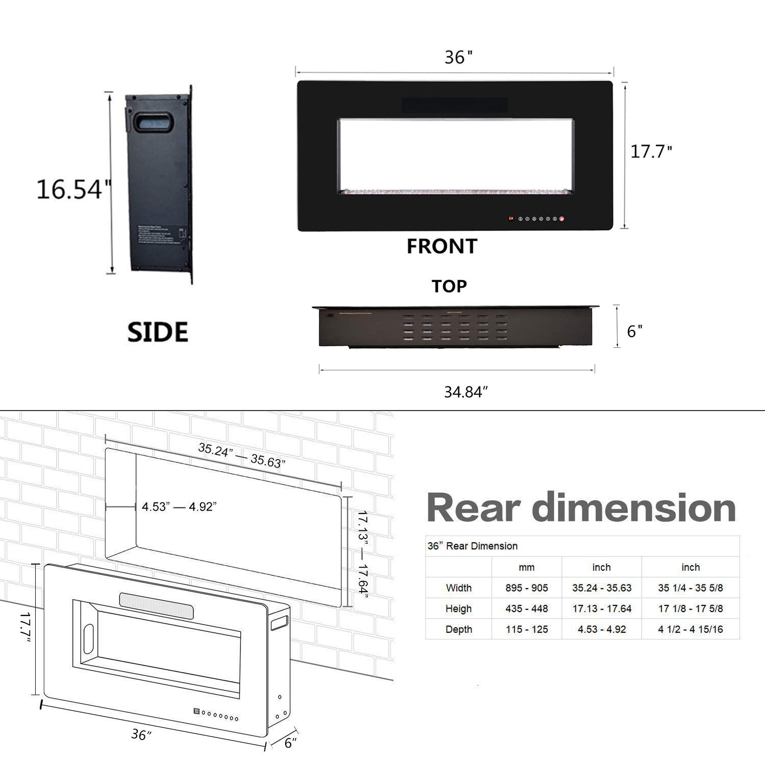 Black /… R.W.FLAME 36 Recessed Electric Fireplace,Wall Mounted Linear Fireplace with Remote Control and Timer,Touch Screen,12 Flame Colors and Speed,1500W