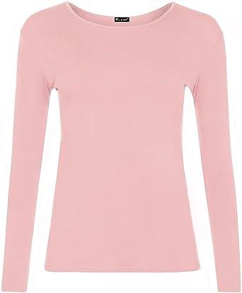 7a7565e39 ZEE FASHION New Ladies Plain Stretch Fit Long Sleeve Womens T-Shirt Round  Neck Basic Top Plus Size UK 8-26: Amazon.co.uk: Clothing