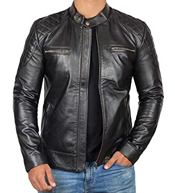 a71e3183f38f Black Leather Jacket Men - Cafe Racer Motorcycle Leather Jackets for ...