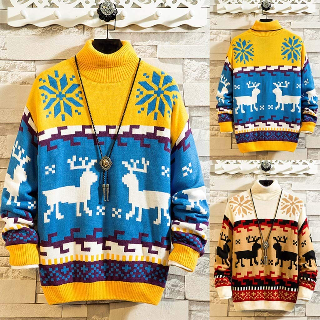 YiYLunneo Men Winter Ugly Turtleneck Christmas Knitting Sweater Holiday Party Xmas Pullover Sweatshirt