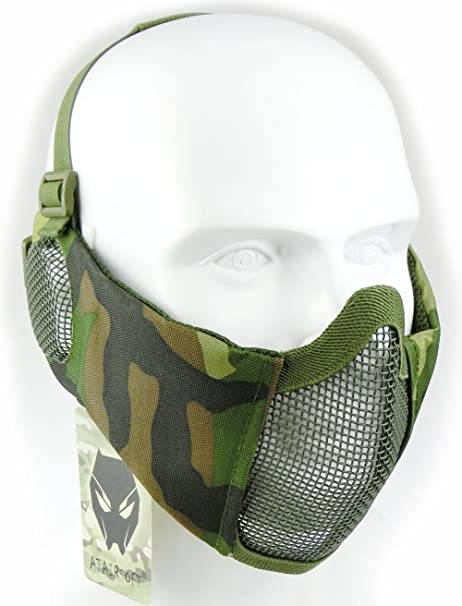 AT-FG Mascarilla protectora de malla inferior de nailon con cubierta para la oreja de Worldshopping4U Tactical Airsoft CS