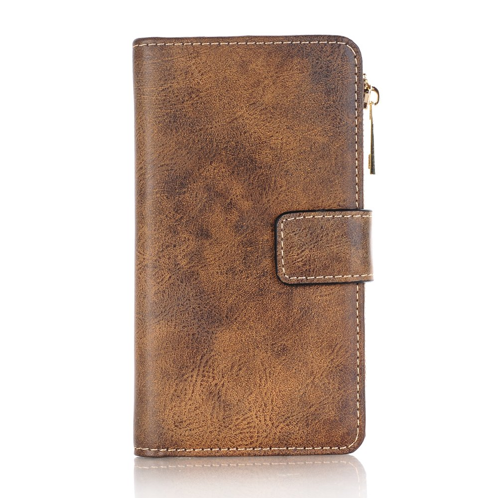 Case Compatible for iPhone 8 Plus(5.5 inch), Premium PU Leather Wallet Case, Zipper Wallet Case,Magnetic Closure, Detachable Magnetic Case with Card Slots for iPhone 8 Plus(5.5 inch) - Light Brown