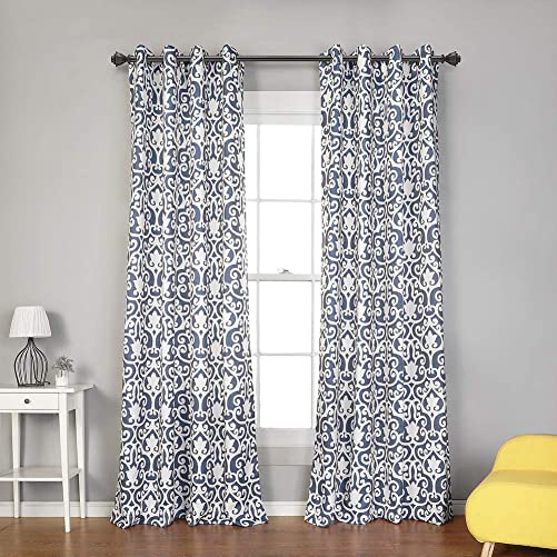 MYSKY HOME Moroccan Print Design Curtains Panels for Living Room Bedroom Window Draperies for Farmhouse Grommet Top 2 Panels, 52 x 95 , Blue