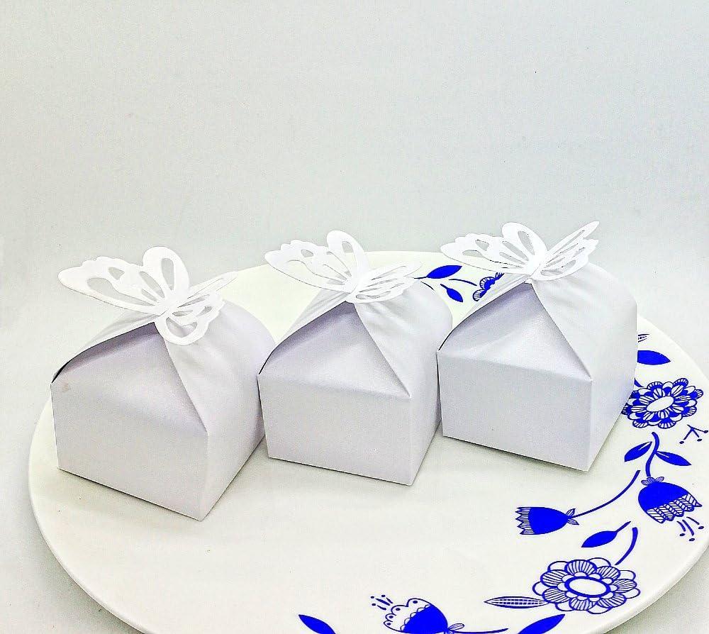 CHSYOO 50 x Mariposa Blanco Caja Boda Caja Dulces Regalo para regalar en Boda Cumpleaños Bautismo Bautizo Baby Shower Kids Party