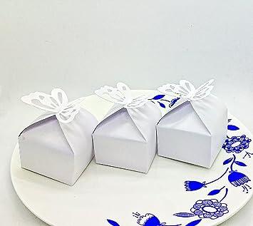 SYOO 50 x Mariposa Blanco Caja de Favor de La Boda Caja de Dulces de Regalo para la Boda Cumpleaños Bautismo Baby Shower Kids Party