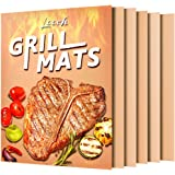 Looch Copper Grill Mat Set of 5- 100% Non-stick BBQ Grill & Baking Mats - FDA-Approved, PFOA Free, Reusable and Easy to Clean - Works on Gas, Charcoal, Electric Grill and More - 15.75 x 13 Inch