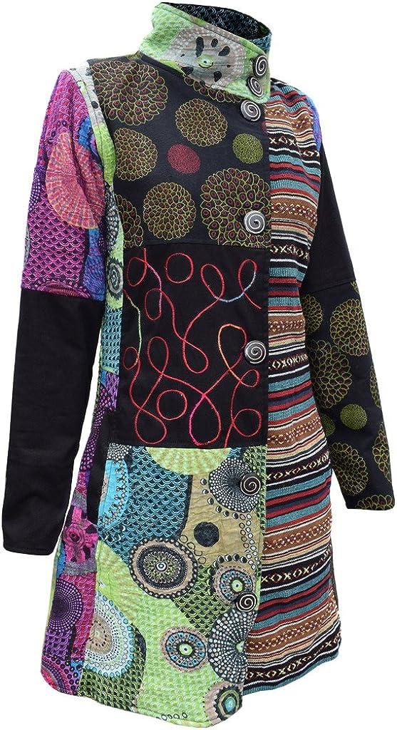 Gheri Womens Cotton Felt Mix Fleece Lined Floral Patchwork Long Coat