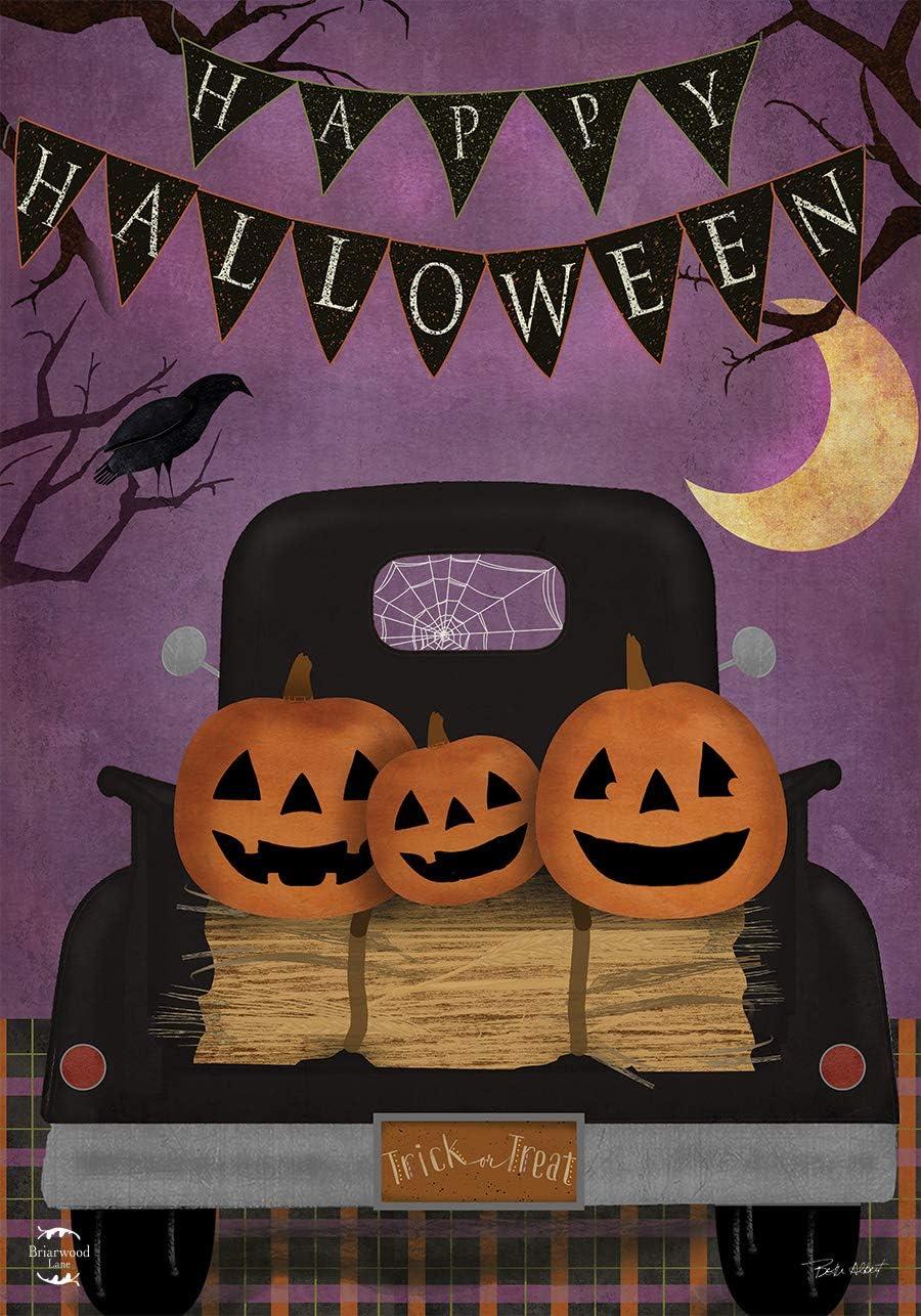 Briarwood Lane Halloween Truck Garden Flag Jack o'Lanterns Primitive 12.5