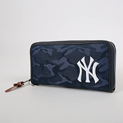 0951c8b3bc68 イーカム MLB 長財布 ニューヨークヤンキース 織カモ柄 ジャガード YK-WLT11 (NAVY)