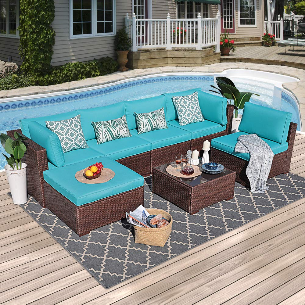 OC Orange-Casual Outdoor Furniture Set 7-Piece Set Patio Conversation Rattan Wicker Sectional Sofa with Coffee Table Seat Cushions Garden, Backyard, Pool