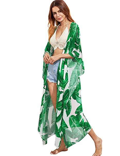 SweatyRocks Women's Flowy Kimono Cardigan Open Front Maxi Dress Green#2 M