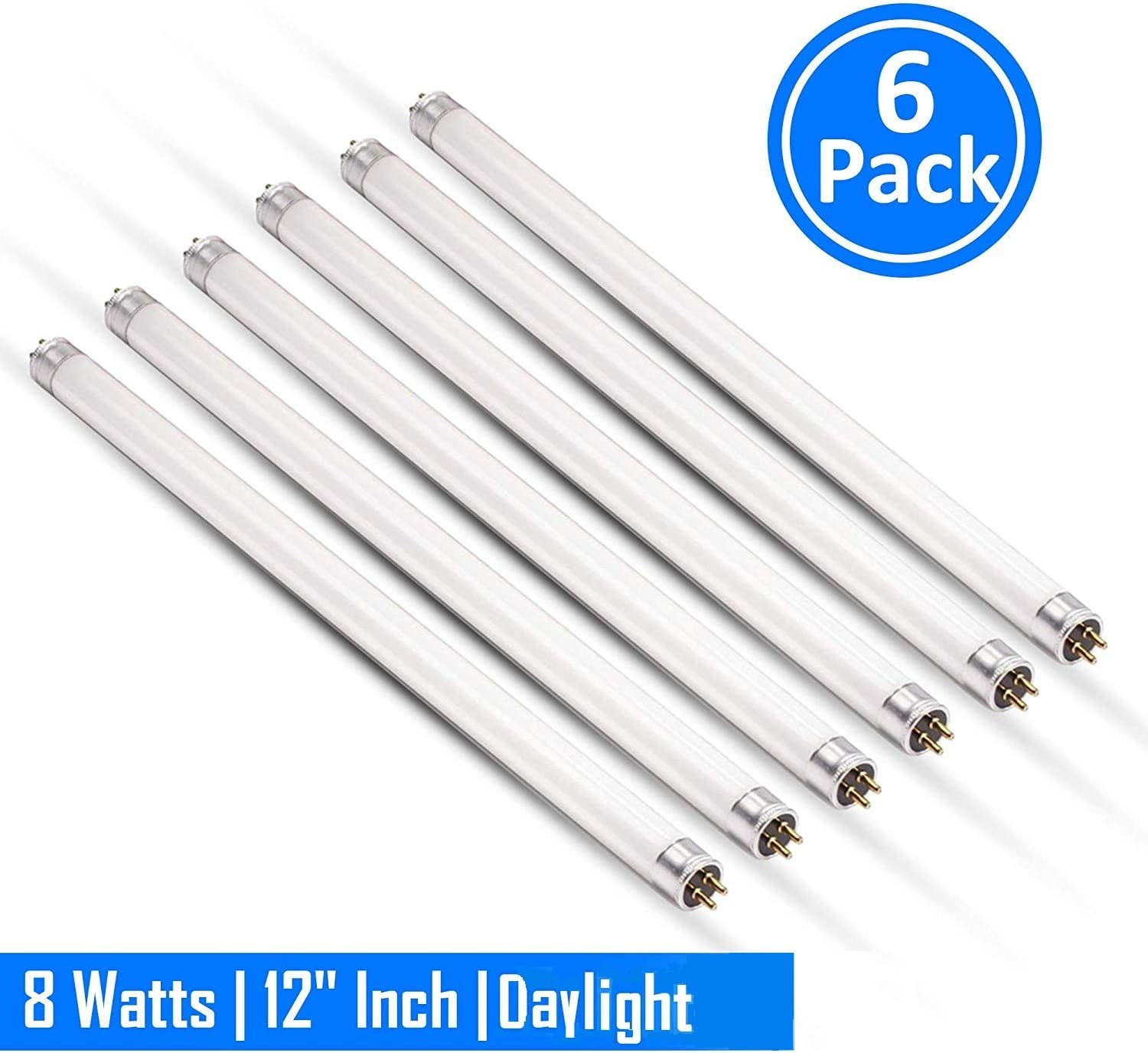 "F8T5/D 8 Watts 6500K Fluorescent Tube Bi Pin Light Bulbs Daylight 12"" Linear T5 380 Lumens 120 Volts -Under The Counter Professional Grade Fluorescent Lamp Pack of 6"