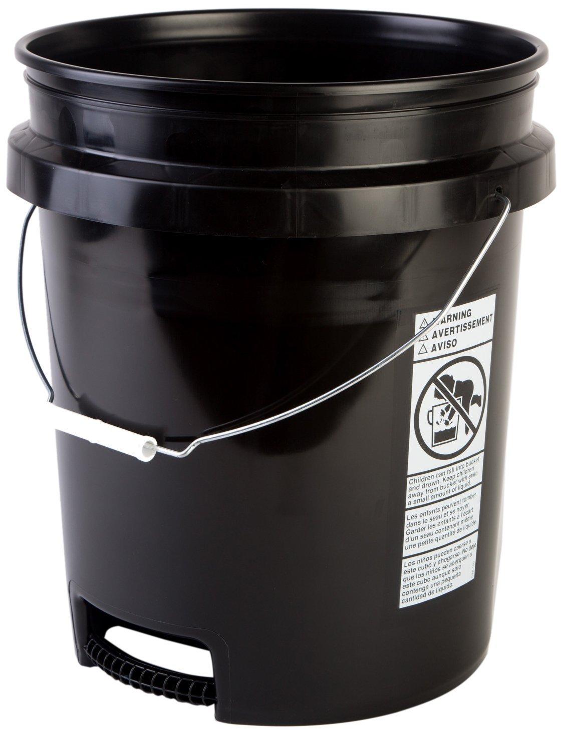 Hudson Exchange 5 Gallon Bucket with Bottom Grip Handle, HDPE, Black, 4 Pack
