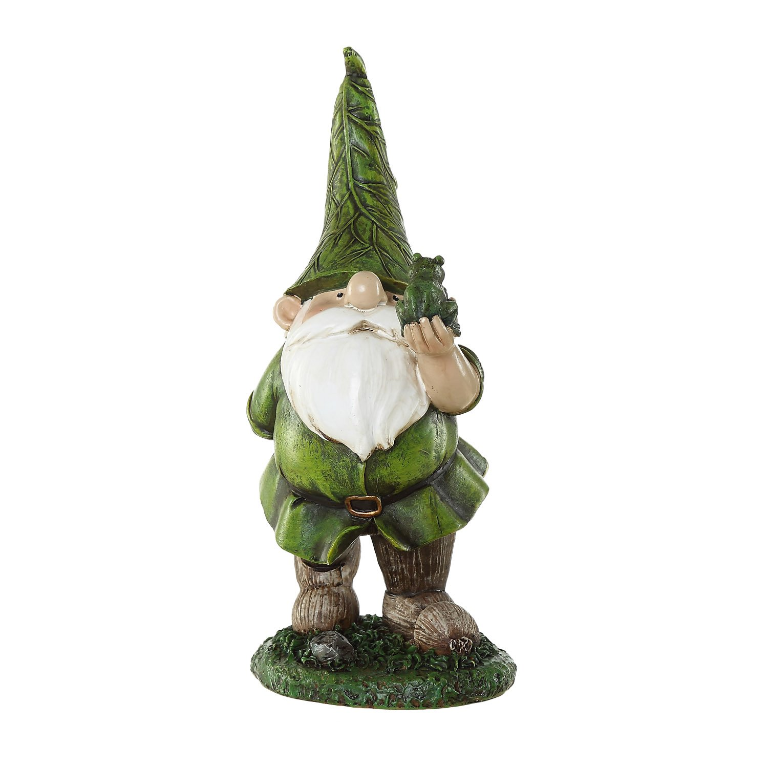 Ivy Home Resin Outdoor Garden Decorative Statuary,Gnome with Frog