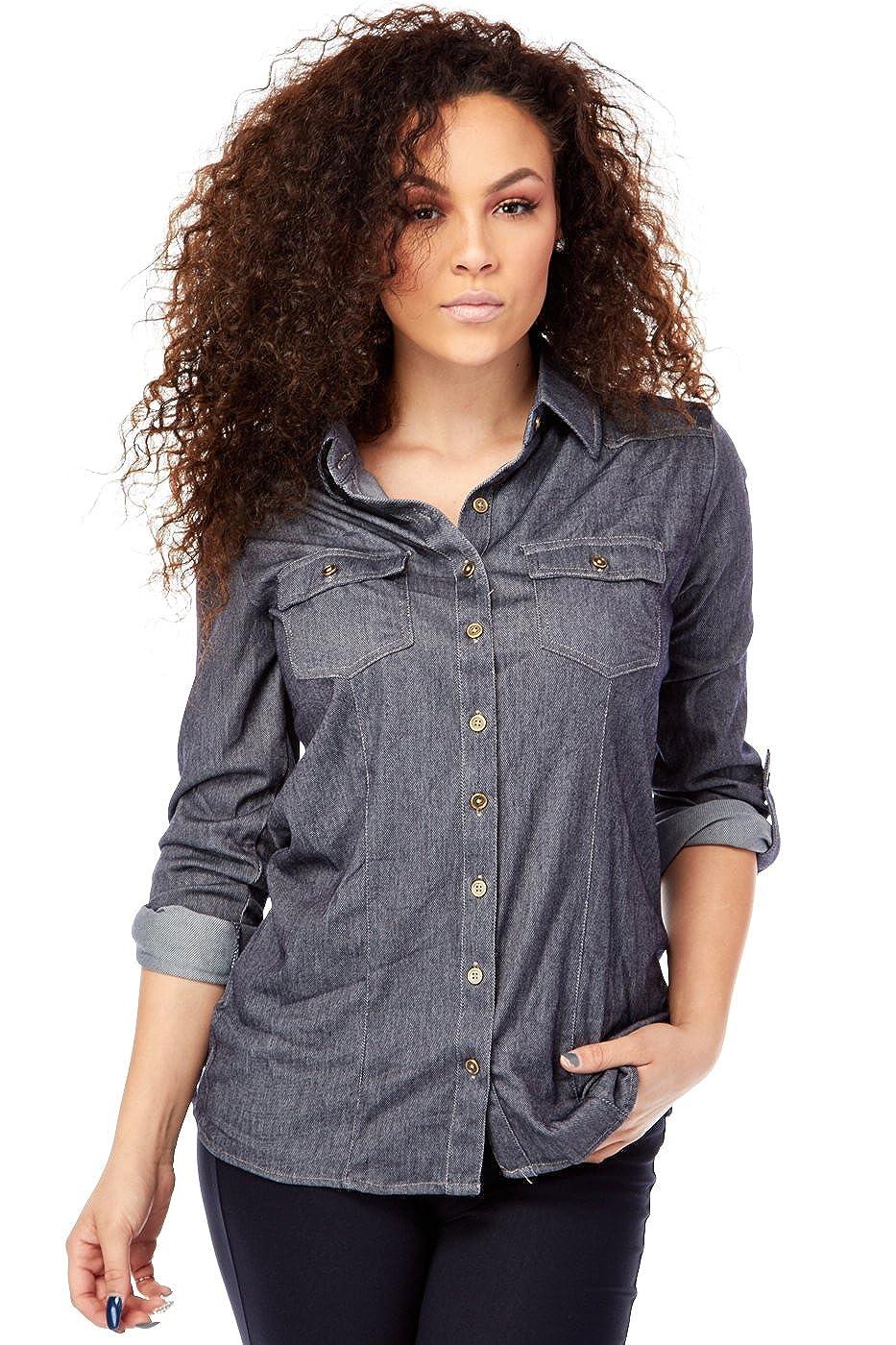 Womens Collared Rayon Denim Button Down Shirts B3844 At Amazon