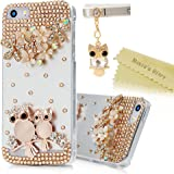 Iphone SE Case,Iphone 5S Case,Iphone 5 Case - Mavis's Diary 3D Handmade Bling Crystal Golden Owls Flowers Shiny Glitter Diamond Rhinestone Clear Hard Cover for Iphone SE/5S/5 with Cute Dust Plug