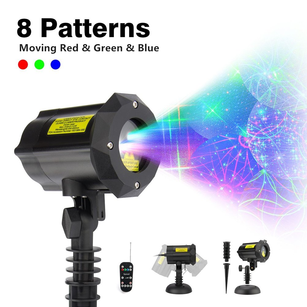 ShiRui Garden Laser Light, Outdoor Christmas Laser Light Projector Holiday, Party, Hallowmas, Landscape Decorations Waterproof Moving 8 Patterns with Wireless Remote Control and Security Lock