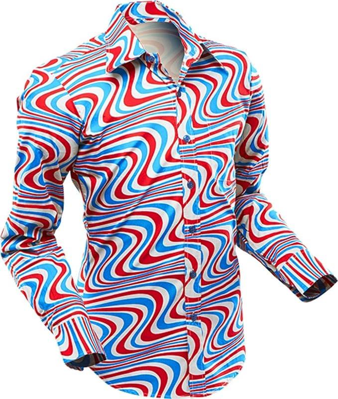 Vintage Shirts – Mens – Retro Shirts 70s retro Shirt Wavyline grey-petrol-red £39.41 AT vintagedancer.com
