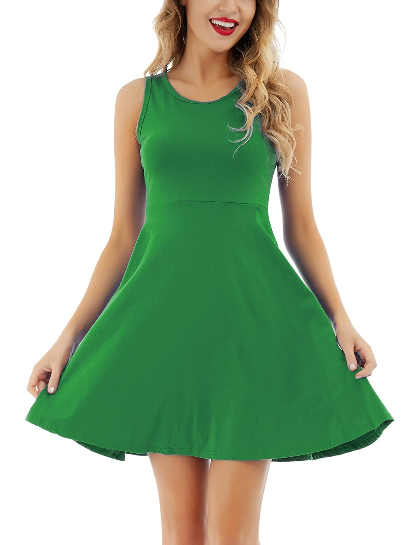 Green Uniboutique Women's Sleeveless Round Neck Summer Beach Midi ALine Flared Tank Dress