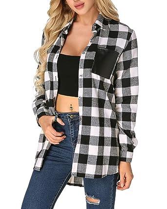 b8bc480d22c ZANZEA Flannel Plaid Buffalo Check Shirt Button Down Long Sleeve Pocket Tops  Plus Size for Women