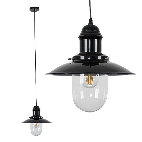 MiniSun - Moderna pantalla para lámpara de techo de estilo pescador - metálica negro brillante