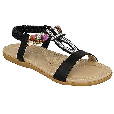 336d8c829d8f Ladies Flat Slip On Sandals Womens Diamante Floral Sling Back Open Toe Shoes   Amazon.co.uk  Shoes   Bags